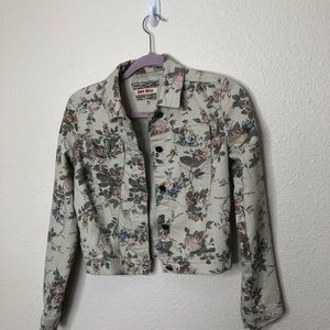 Hot Kiss Floral Denim Jacket Size Small